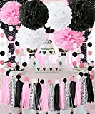 Minnie Mouse Party Decorations Minnie Mouse First Birthday Party Decorations,Pink White Black Tissue Pom Pom Circle Garland Tassel Sheets Minnie Mouse DIY Decor for Bridal, Baby Shower Decorations