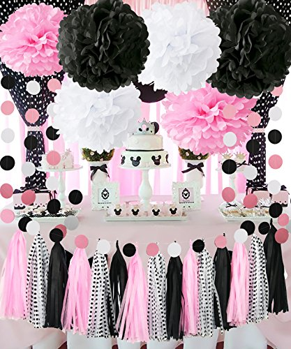 Minnie Mouse Party Decorations Minnie Mouse First Birthday Party Decorations,Pink White Black Tissue Pom Pom Tassel Garland Minnie Mouse Party Supplies