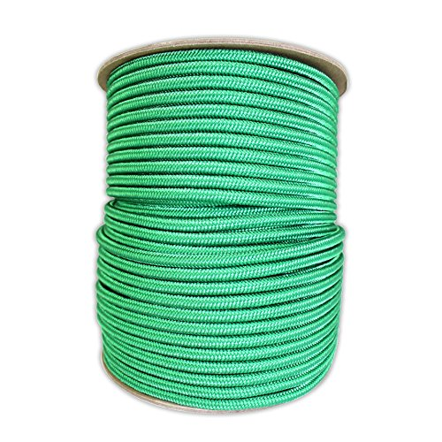 SGT KNOTS Braided Polyester Rope (1/4 in - 6mm) Braid on Braid Stiff Halter Cord - DIY Horse Halter - Low Stretch Cord for Arborist/Tree Rigging, Hiking, Crafting (25 ft - Coil, Kelly Green)