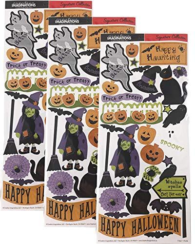 Creative Imaginations Halloween Stickers for Scrapbook, Kids, Teacher (Pack of 3) ()