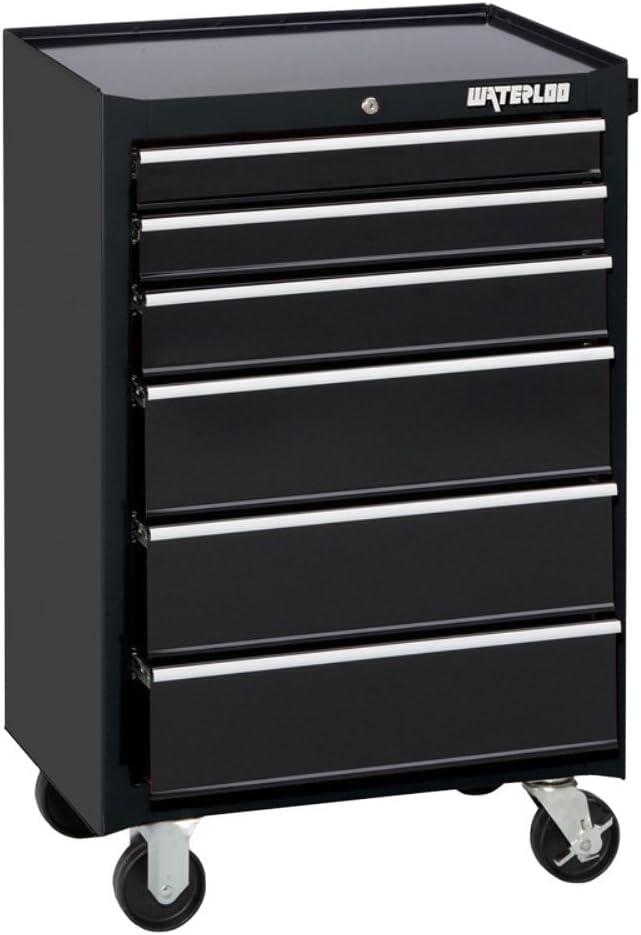 Waterloo WATWCA-266BK Black Rolling Cabinet Width 26 , Depth 18 , Height 40-47 64 Non-Carb Compliant