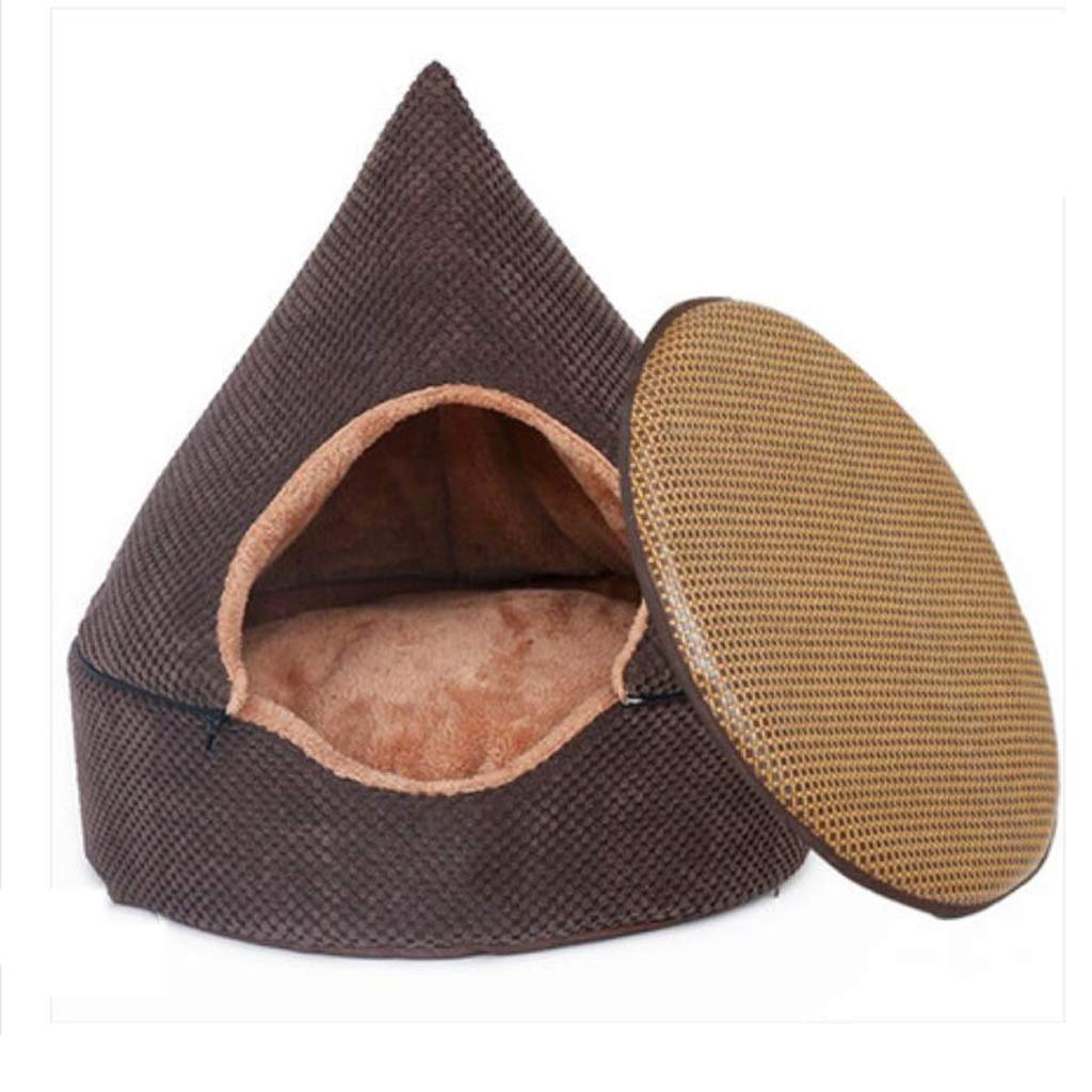 Nest+mat LARGEFJH Kennel Closed Small Dog Medium Dog Washable Tent Method Bucket Keji Dog House Indoor Pet Yurt (color   Wo, Size   LARGE)