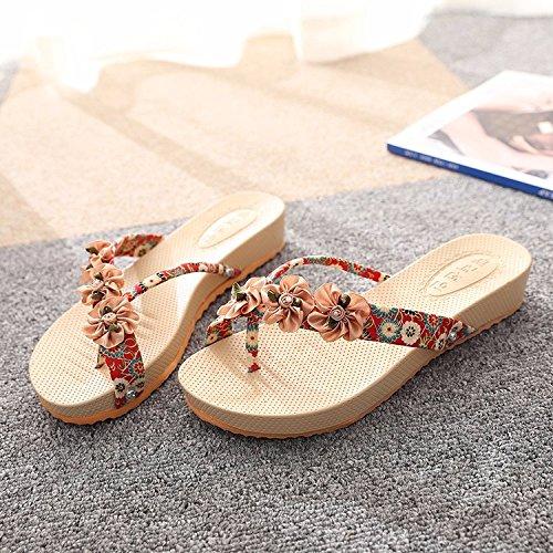 requiere toe ocio las moda La zapatillas el de actividades Playa las rutschfeste de Talsohle Rojo Flachbild flores que vf0x7w