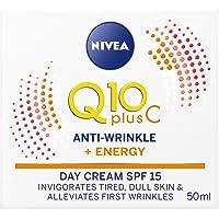 NIVEA Q10 Plus C Anti-Wrinkle Day Cream SPF15 with Vitamin C & Creatine for Tired & Dull Skin 50ml