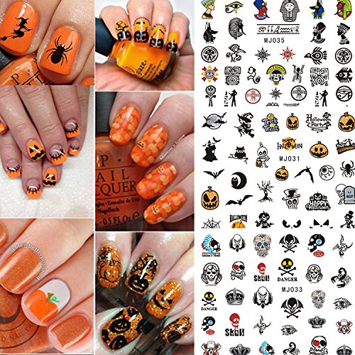 Coosa Halloween 12 sheets Trendy Creepy Nail Art Decals Nail Stencil Sticker Sheets (Halloween Nails)