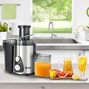 Centrifugal Juicer, 1000ml Electric Juice Extractor, Easy Clean Juicer Machines with Wide Mouth, BPA-Free Stainless Steel Juice Machine with Juice Container, Blender for Fruit Vegetable, Black