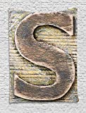 Letter S Tapestry, Wood Alphabet Block S Timber Texture Image Typography Writing Craft Font, Wall Hanging for Bedroom Living Room Dorm, 60 W X 80 L Inches, Pale Yellow Tan Grey