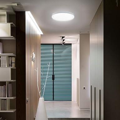 VIPMOON 18W Luz de Techo LED, 6500K Blanca Fría Lámpara de Techo Redonda Ultrafina de 18cm/7in, 1620LM Panel de Luz LED Montado en Superficie Interior para Baño Cocina Pasillo Escalera, CE/LVD/EMC: Amazon.es: