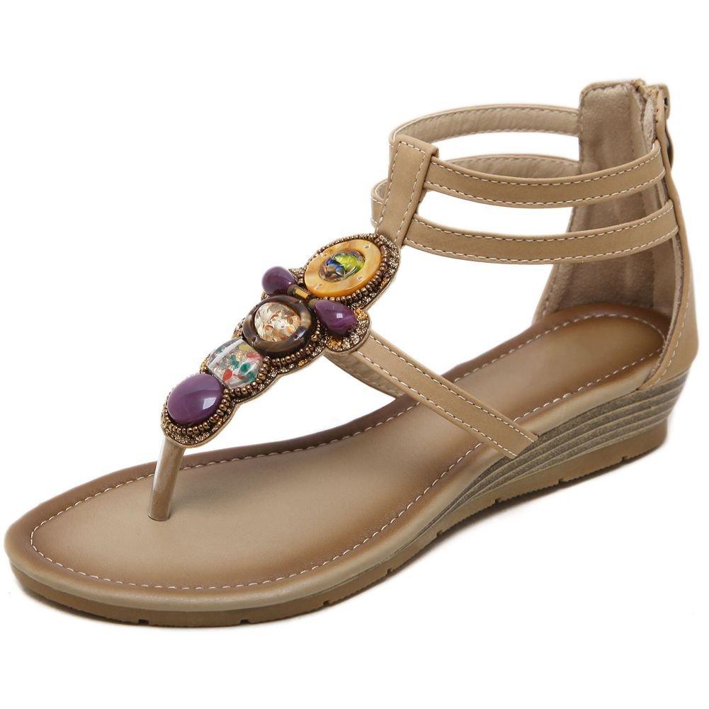 KingRover Women's Thong Wedge Heel Zip Sandals T-Strap Bohemian Rhinestone Slip On Flip Flops Shoes B07BNG52P9 6 B(M) US|1 Beige