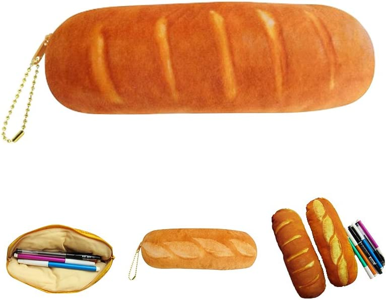 Zhi Jin 1Pc Food Pen Case Holder Large Capacity Storage Bag Brush Pencil Makeup Organizer Fountain Set for School Travel Gift French Bread