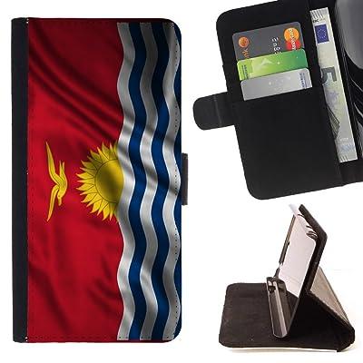 FJCases Kiribati Kiribatiano Bandera Ondeante Carcasa Funda Billetera con Ranuras para Tarjetas y Soporte Plegable para Sony Xperia L1