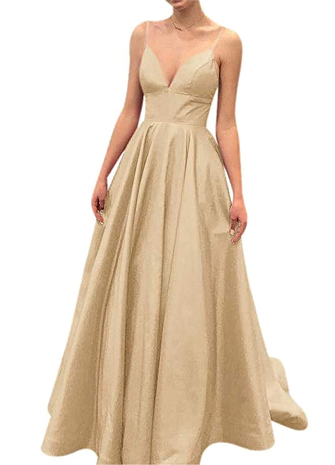 Champagne QiJunGe V Neck Evening Party Gown A Line Spaghetti Strap Prom Dress with Pocket