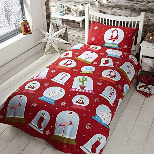 Rapport Kids Snowglobe Christmas Decoration Duvet Cover Set, Polycotton, Red, Double