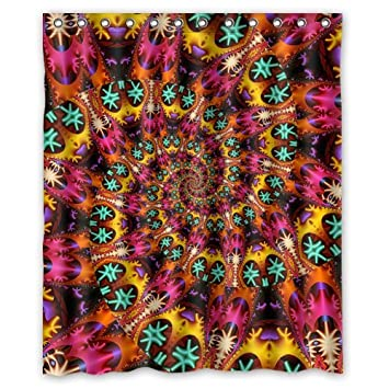 Hippie Shower Curtain   Best Cool Tie Dye Rainbow Spirals Fractal Bathroom  Shower Curtains Polyester Waterproof