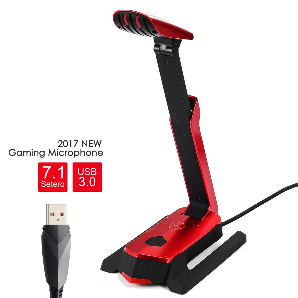 BEEXCELLENT USB Microphone for Computer Gaming Microphone for Laptop PC and PS4 Recording Mic with LED lights, Flexible Desktop Gaming Microphone USB Stand Holder for Gaming Headsets