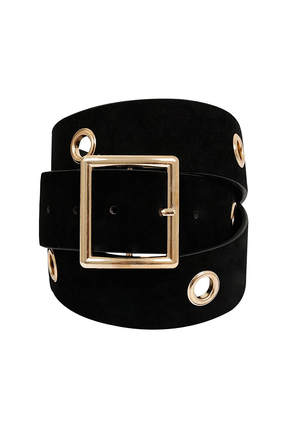 Yoursclothing Womens Suedette Belt With Gold Eyelet Detail