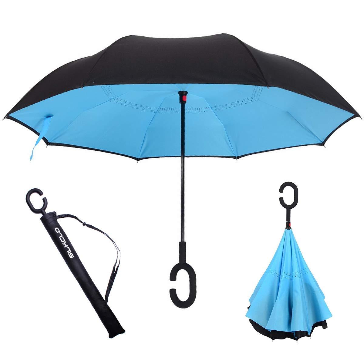 Walsilk Double Couche Parapluie,Parapluie Inversé,Parapluie Réversible, Parapluie Canne, Coupe Vent Parapluie avec Poignée en Forme de C pour les Femmes et les Hommes Résistant au vent