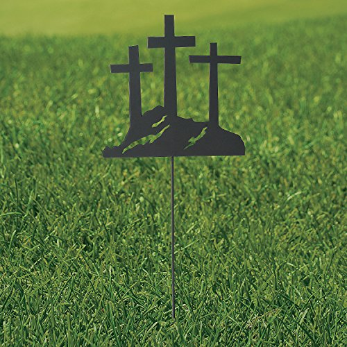 Fun Express - 3 Cross Metal Yard Stake for Easter - Home Decor - Outdoor - Yard Art - Easter - 1 Piece