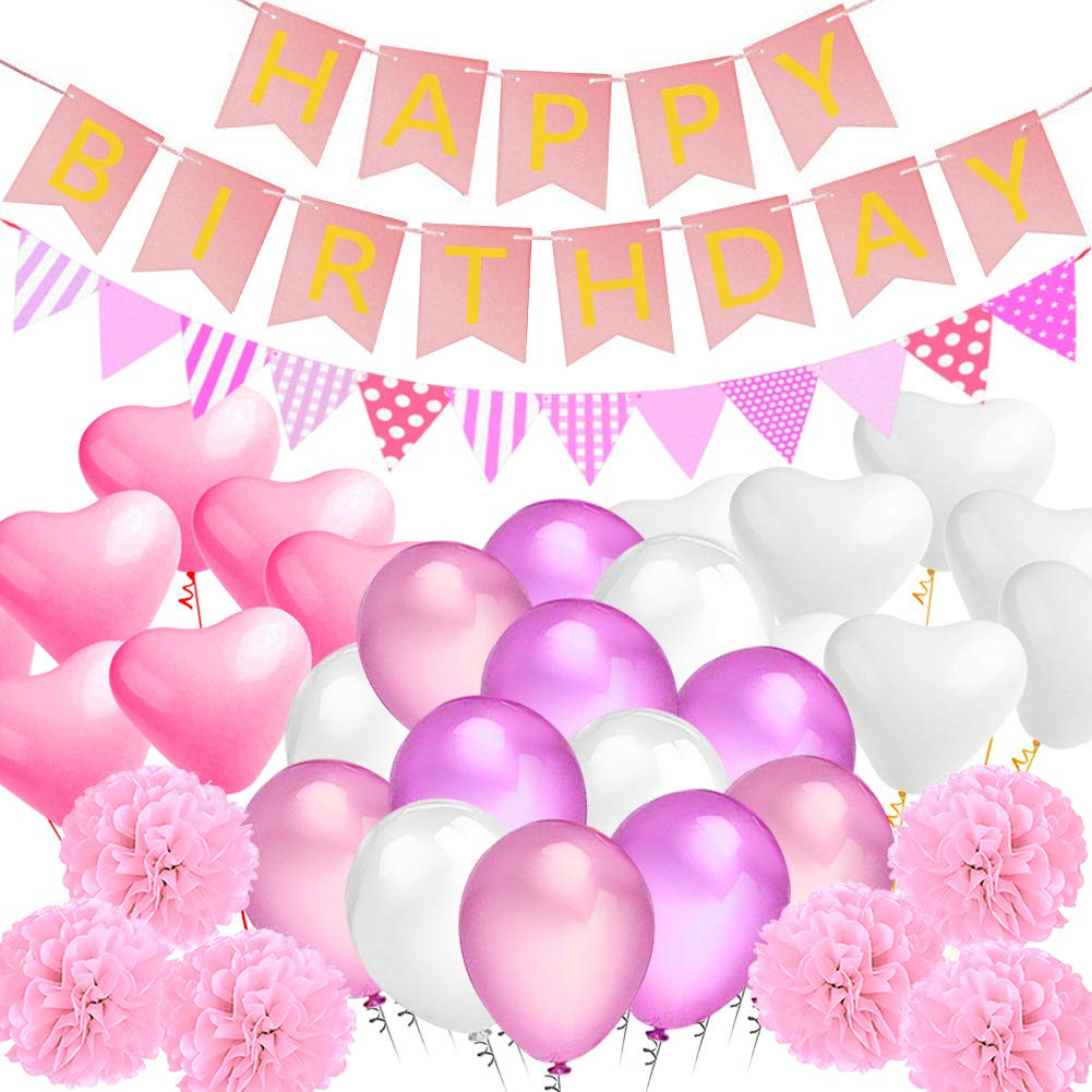 Amteker Party Birthday Decorations, Happy Birthday Banner Flags, 9 Tissue Paper PomPoms, 40 Latex Balloons, 20 Heart Balloons, for Birthday, Wedding, Baby Shower, Parties, Main Decorations