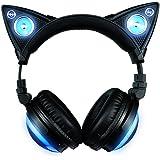 Axent Wear 317857 - Casque Audio Oreilles de Chat, Bluetooth sans fil avec haut-parleur et 8 choix de couleurs interchangeables
