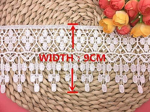 Garniture de dentelle in/élastique pour broderie de motif de Applique Europe de 9CM de largeur v/êtements // accessoires Bridal DIY de couverture de nappe de rideau. 2 yards dans un package Rouge