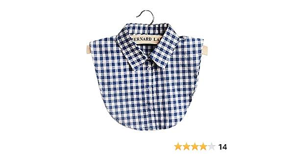 Vococal Collar de Camisa Falso, Collar Falso Algodón Casual Plaid para DIY Blusa Ropa de Vestir, para Mujeres Señoras (Azul)