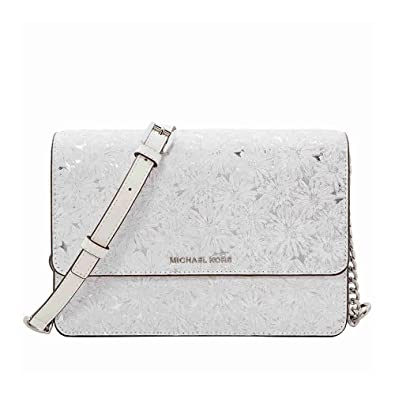 647c3ab9c523 Michael Kors Large Metallic Floral Crossbody Bag - White Silver  Handbags   Amazon.com