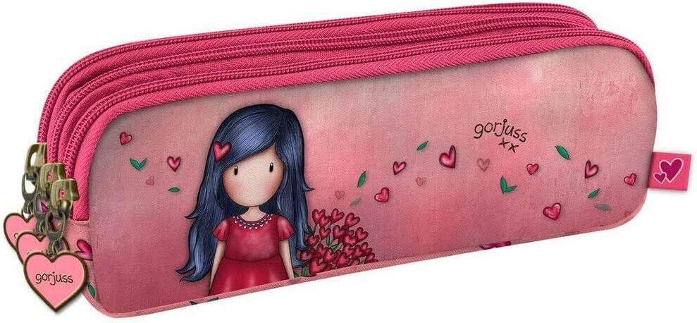 Trolley mochila escolar compatible con Santoro Gorjuss London Grows Love El Amor Crecimiento + Estuche 3 cremalleras + Diario + Llavero + Plumas de colores: Amazon.es: Equipaje