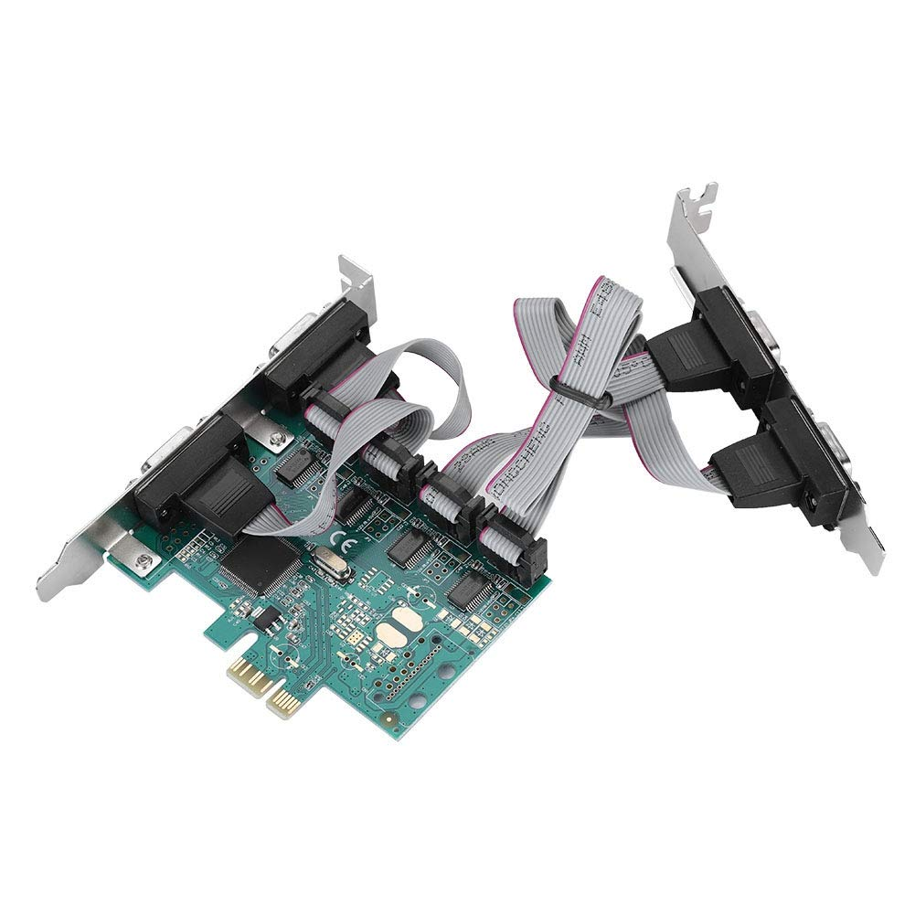 fosa PCI-E to 4-Port RS232 Serial Port Card for Windows/Linux, Converter PCI Controller Adapter Expansion Card with Baffle for Industrial Automation System POS ATM
