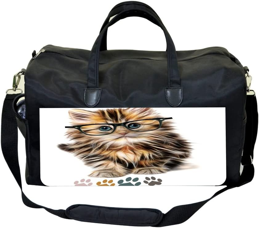 Hipster Kitty-Pawprints PU Leather and Suede Sports Bag