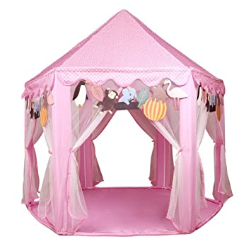 Kids Pink Princess Castle PlayHouse - UTH TENT Hexagon Play Tent For Girls Indoor Outdoor  sc 1 st  Amazon.com & Amazon.com: Kids Pink Princess Castle PlayHouse - UTH TENT Hexagon ...