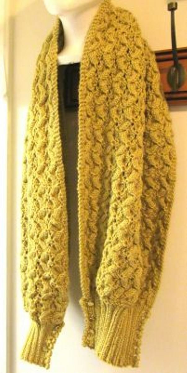 Knit Scarf and Shawl with Cuffs ''Shawl Etta''