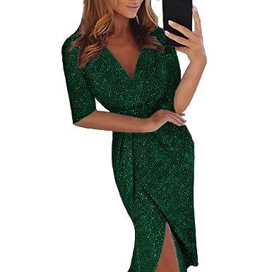18acc2b1af8a ONine Women Deep V Neck Metallic Knit High Slit Bodycon Dress Evening Party Cocktail  Dress,