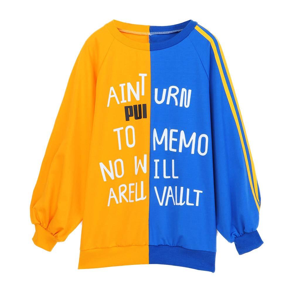 Sannysis Womens Autumn Loose Long Sleeve Letter Print Sweatshirt Pullover Tops, Yellow L