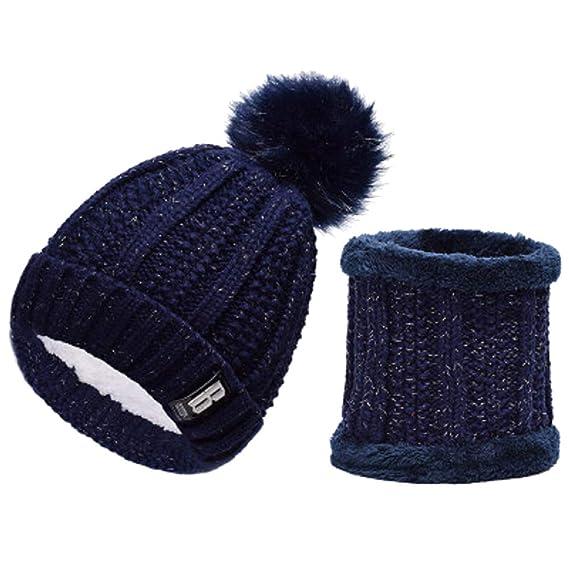 heekpek Gorras Con Bufanda y Gorros de punto Sombreros de Invierno Gorras  Beanie de Punto para Mujeres Calentar Sombreros Elegante Sombrero Femenino  Mujer ... 9f162ee0a3f