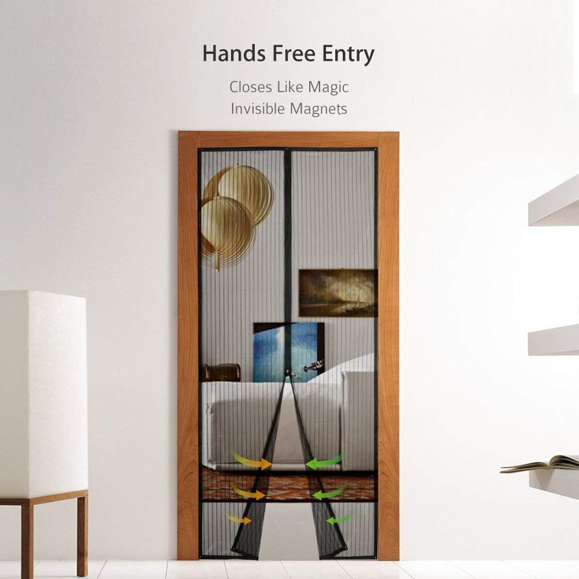 Fits Doors up to 36 x 82-inch fgfdgfd Magnetic Screen Doors New 2018 Patent Pending Design Full Frame Velcro and Fiberglass Mesh Polyester This Instantly Retractable Bug Screen.