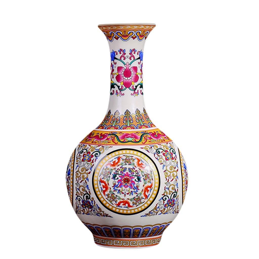 MAHONGQING 花瓶セラミックス現代のファッションカウンタートップ花瓶リビングルームホームデコレーション装飾品セット縁起の良いパターンボトル (Size : L) B07RZS4WWP  Large