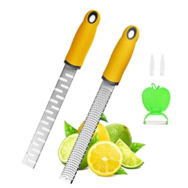 Zester Grater Stainless Steel Rasper with Utensil Blade for Orange Cheese Vegetable Chocolate Safe Cover Peeler 2 Pack