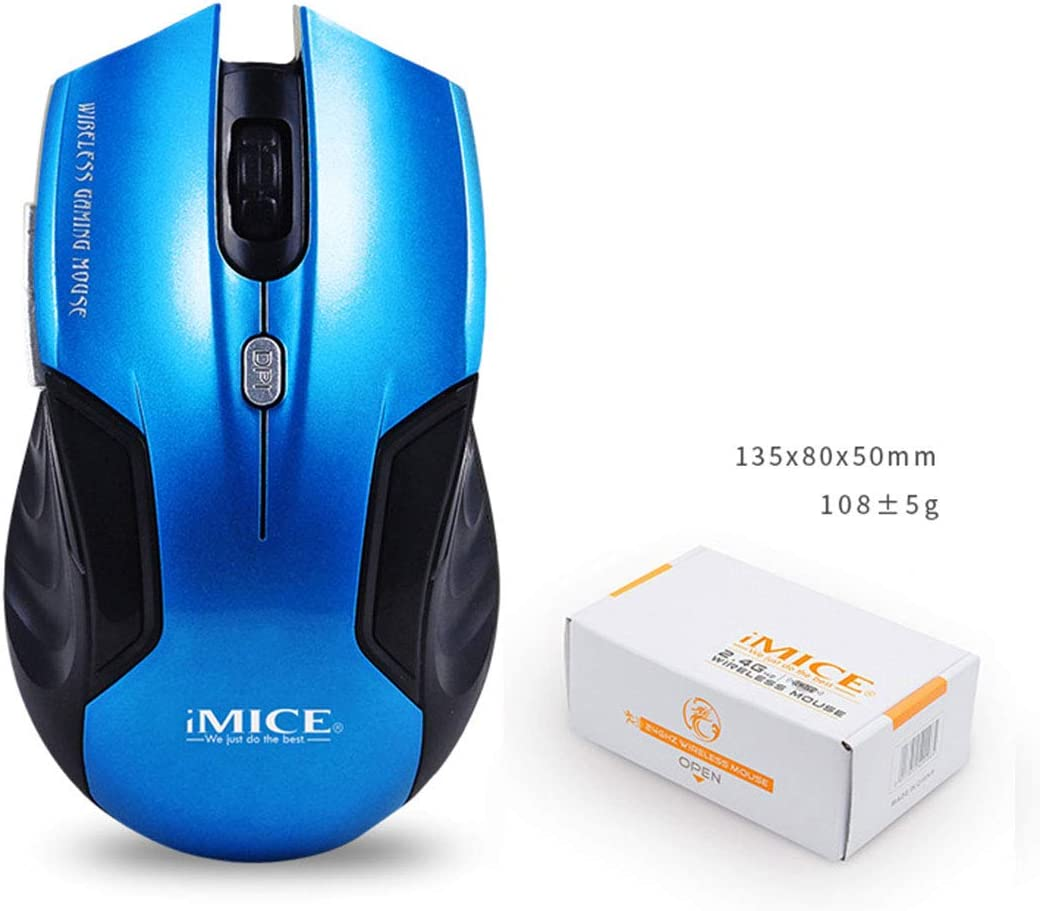 Color : Sky Blue+Exclusive Color Box Hexiaoyi New Wireless Gaming Mouse with Unique Silent Click 2 Programmable Side Buttons 1600 DPI Ergonomic Grips 6 Button Design