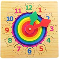 Emob Wooden Number and Time Learning Clock Educational Toy for Kids (Multicolor)