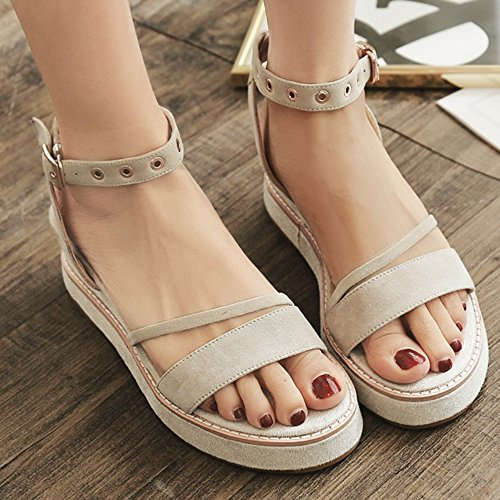 Sandals XIAOLIN Thick-soled Leather Female Summer Flat Bottom Students Casual Sports Beach Shoes Open Toe Slope Heel (Optional Size) (Color : Black, Size : EU35/UK3/CN34) White