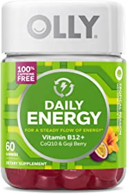 OLLY Daily Energy Gummy, 30 Day Supply (60 Gummies), Tropical Passion, Vitamin B12, CoQ10, Goji Berry, Caffeine Free, Chewabl