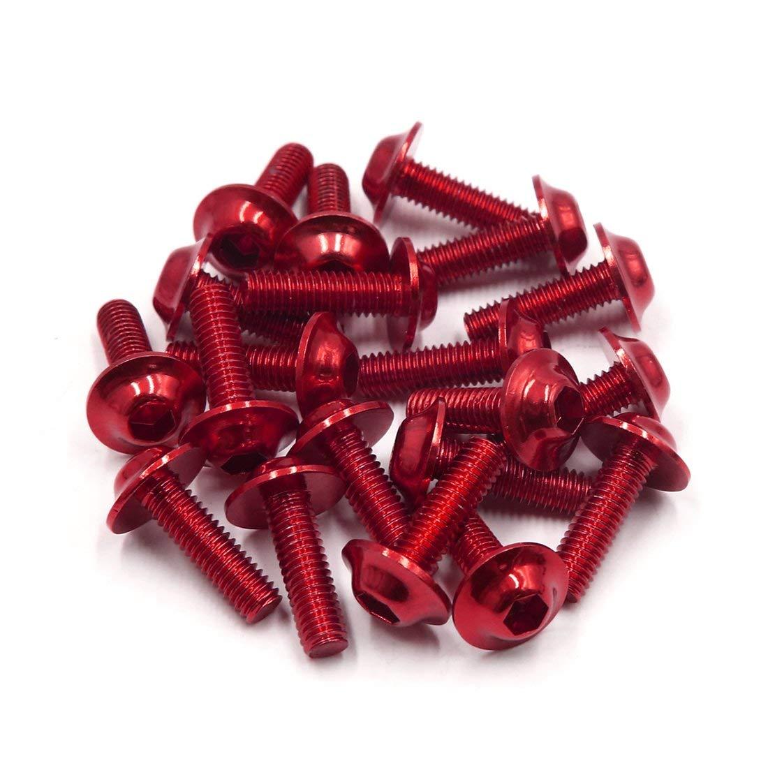 20Pc M6x20mm plaques Hexs rouges vis car/énage pour Moto