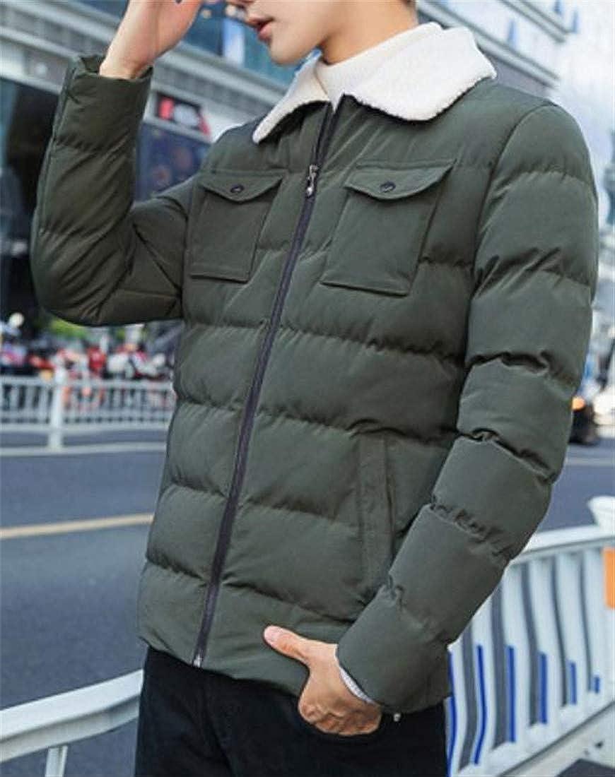 Joe Wenko Mens Quilted Thicken Down Jacket Winter Faux Fur Collar Parka Coat