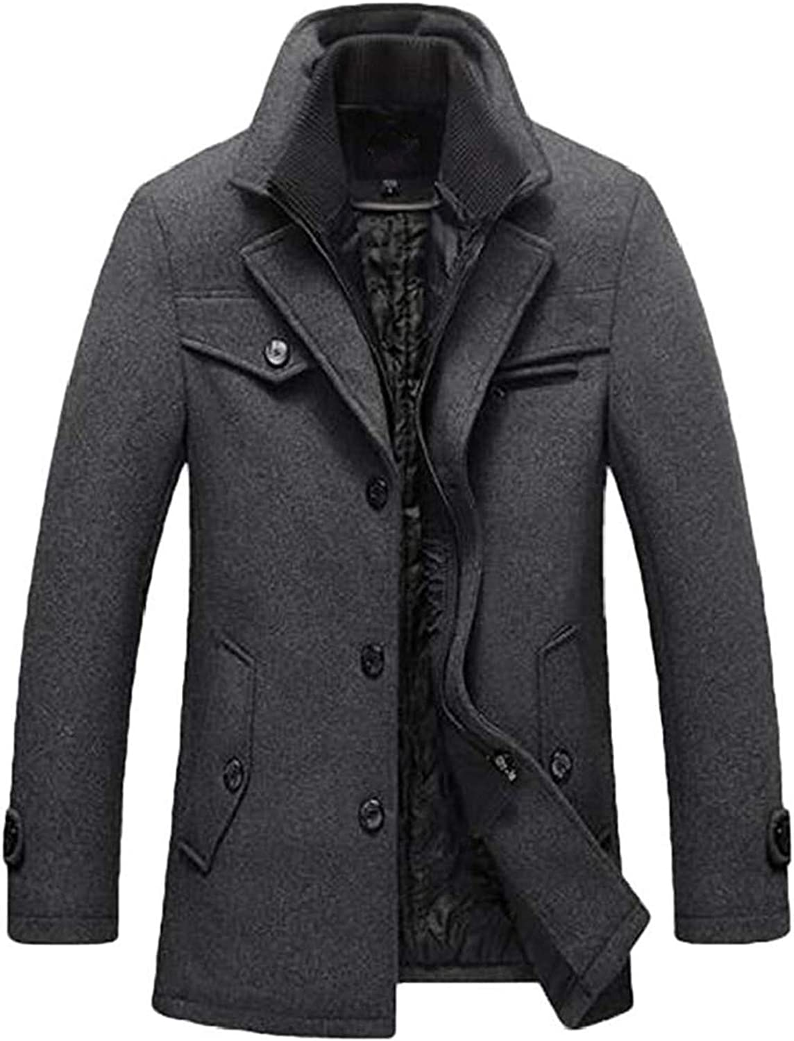 AiMei Men Single Breasted Mid Length Stand Collar Casual Trench Coat Jacket Overcoat 2