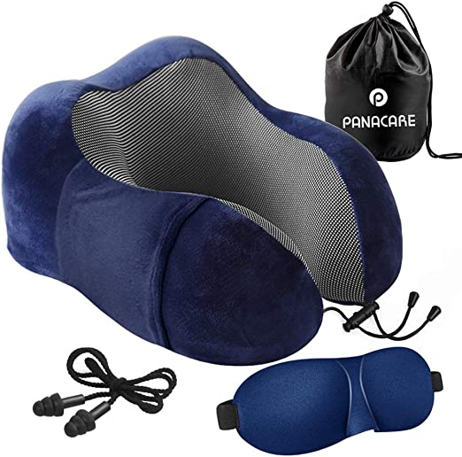 Memory Foam Comfort Neck Support Velour Travel Cushion Pillow With Rucksack UK