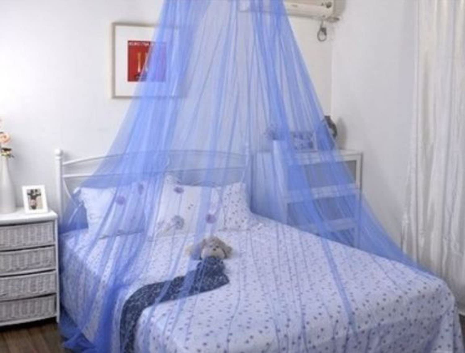 Blue Bow Netting Curtains Mosquito Net for Double Single Bed Canopy with Internal Loop Round Fly Screen