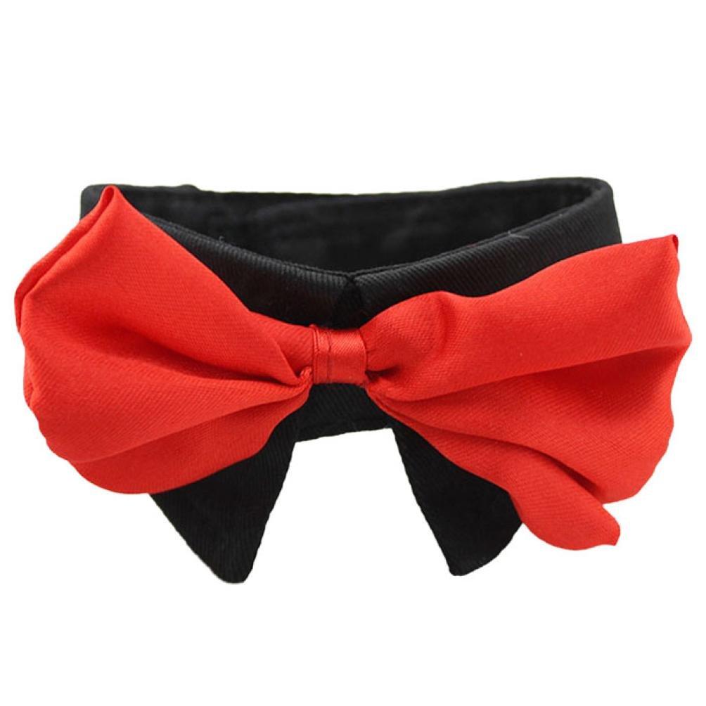 Voberry Hot Dog Neck Tie Dog Bow Tie Cat Tie Pet Grooming Supplies Pet Headdress Flower (XXL, Red)