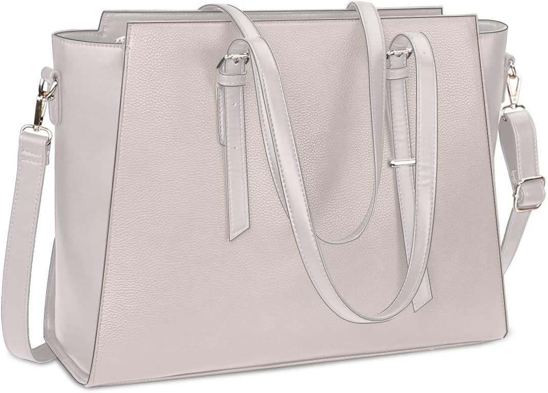 Laptop Bag for Women 15.6 Inch Waterproof Laptop Tote Bag Large Leather Computer Briefcase Womens Business Professional Office Work Bag Lightweight Shoulder Handbag,Beige
