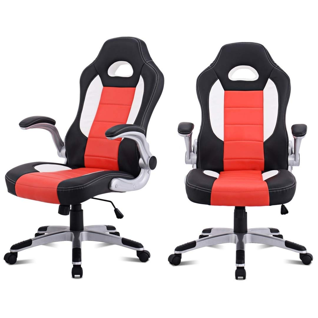 Modern Executive High Back Racing Style Gaming Chairs 360-degree Swivel PU Leather Upholstery Thick Padded Seat Adjustable Armrest School Office Home Furniture - Set of 2 Orange #2129 by KLS14